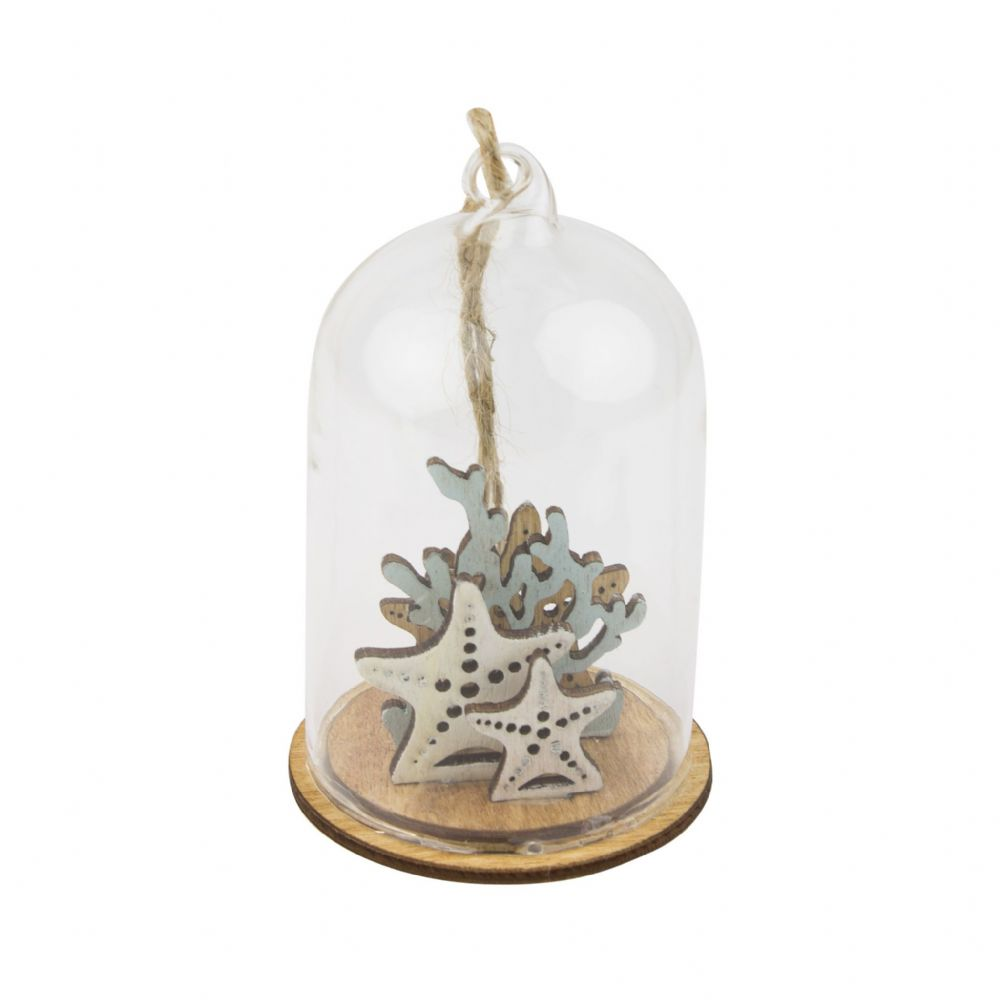 Glass Dome with Wooden with Shells & Starfish Hanging Coastal Decoration